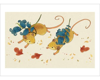 Harvest Mice Carrying Bluebells A5 Art Print