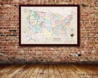 Us Map With Pins Map Of Us Poster Map Of The Us Travel Map Push Pin