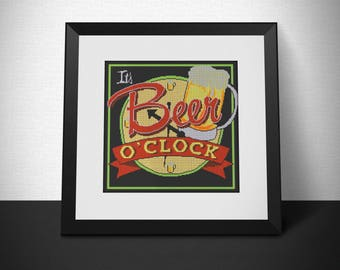 Beer o'clock cross stitch pattern (Buy 1 get 2) - Instant PDF download