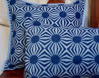 Indigo series C: cotton Cushion cover Indian, geometric, natural indigo dye.