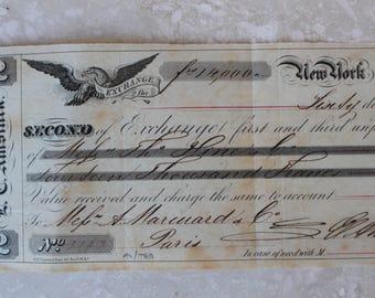 1860 Antique promissory note, Paris Promissory note, Antique France, France Antique, Anitque French Ephemera