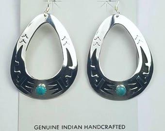 Native American Navajo handmade Sterling Silver Kingman Turquoise dangle earrings by Tommy Singer