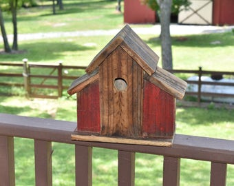 Rustic Barn Birdhouse made from Reclaimed Wood Red Brown Small Birds Outdoor Farmhouse