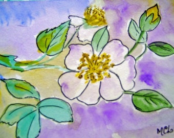 WATERCOLOR WATERCOLOR FLOWERS APPLE BLOSSOMS