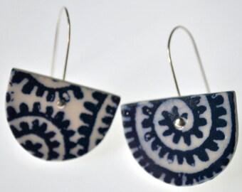 Cobalt spiral pattern dangle statement earrings