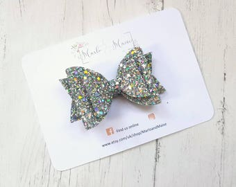 Holographic silver glitter bow, girls hair accessories, girls bow, baby headband, girls gift, birthday gift