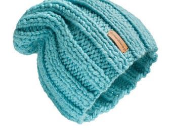 Thick Hat  Classic Sky Blue Design for women beanie hat  chunky hand knit hat