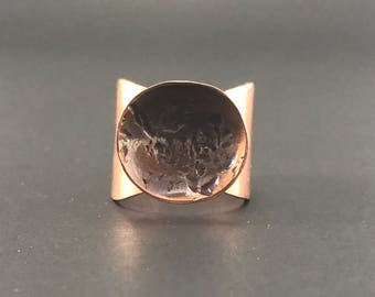 Copper moonscape ring