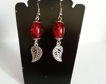 Red glass leaf earrings
