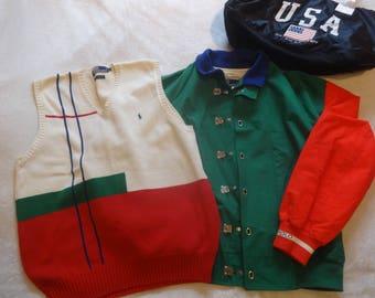 Vintage M-L Polo Ralph Lauren Stadium 92 Jacket + vest set
