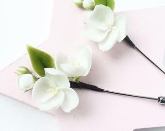 Jasmine lapel pin white flower pin blossom flower pin Jasmine boutonniere floral boutonniere groomsmen button hole wedding boutonniere