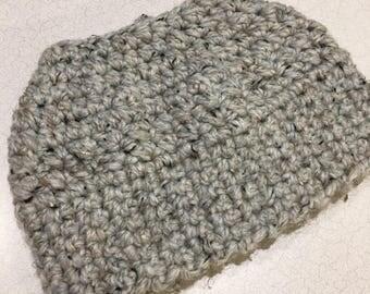 Grey tweed bun hat