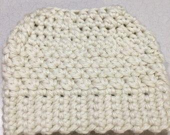 Snowy white bun hat