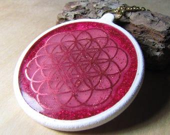 Flower of life healing pendant, healing oscillator, orgone generator