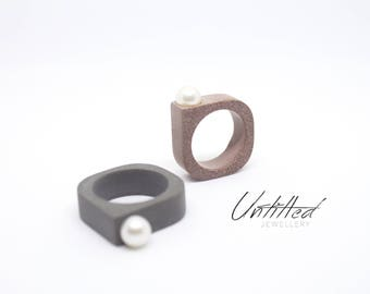 Untitled - Concrete & Pearl Ring