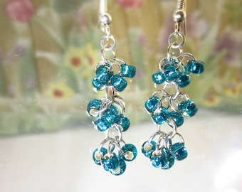 """Peacock Blue Glass Beads with Silver Lining  - style: """"waterfalls"""" FREE SHIPPING"""