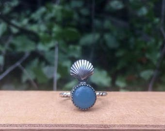 Sterling Silver Mermaid Ring / Sterling Silver Ring / Blue Chalcedony Ring / Seashell Ring / Round Chalcedony / Shell Ring / Ocean Ring