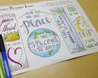 Peace Because Jesus Bible Journaling Margin Art & Tip-in, Printable and Traceable Templates, Hand Lettering, set of 4, 1 page