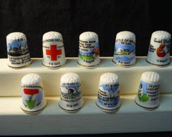 Thimbles Historic Days in August Set of 9 Commemorative Birchcroft Fine Bone China Thimbles