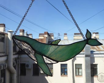 Suncatcher WHALE   Stained glass