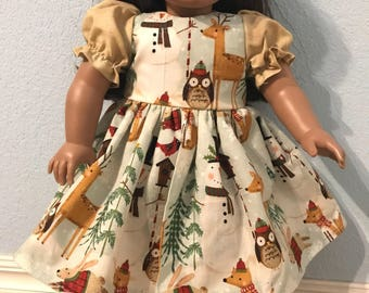 Cute Woodland Creatures Dress for American Girl or Other 18 inch Doll