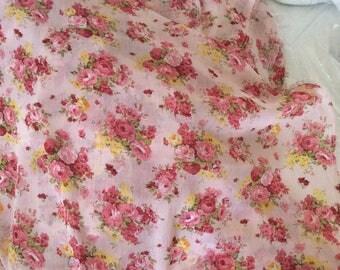 Floral chiffon crepe rose 150cm width