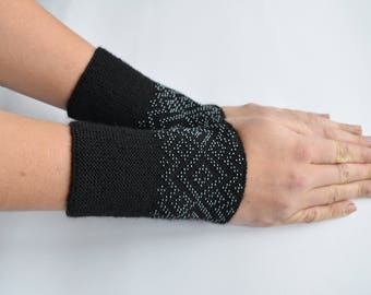 Black wrist warmers,  arm warmers with white seed beads, Traditional pattern,  handmade, Gifts for her