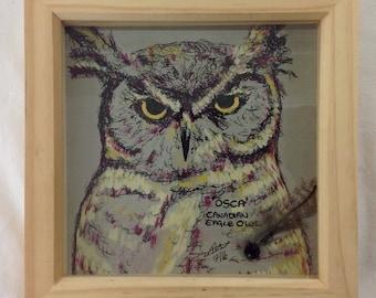 Osca the owl original mixed media picture