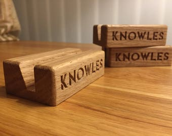 Customisable Oak Wood Business Card Holder - Business Card Holder - Wood Business Card Display - Business Card Stand - Office Supplies