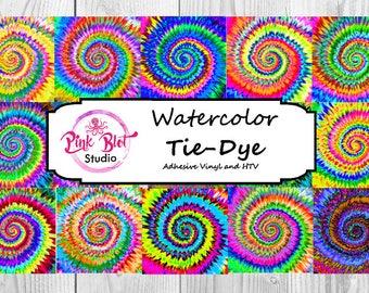 Tie Dye Pattern vinyl, , watercolor. custom printed vinyl, adhesive vinyl, heat transfer vinyl, Lilly Vinyl,printed HTV, Glitter or ADHESIVE