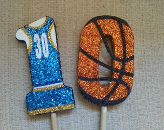 Basketball theme birthday candle handmade centerpieces cake topper