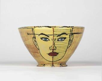 Pottery bowl, ceramic bowl, handmade ceramic bowl, modern pottery, modern ceramics, handthrown pottery, bowl, unique, artistic, serving bowl