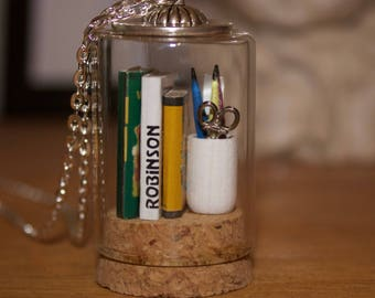 Tiny book stack and pencil jar, miniature bottle pendant.