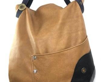 Harper leather camel bag