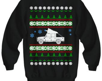 Land Rover Defender 110 Ugly Christmas Sweater  Sweatshirt Land offroad adventure holidays overlanding camping woods