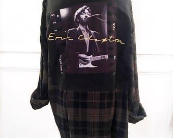 Eric Clapton Flannel Tee Eric Clapton T Shirt new  olive and black plaid flannel shirt unisex men's medium  brushed cotton