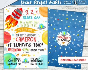 PRINTABLE ||Rocket/Outer Space Party|| Optional Thank you cards|| Optional Backside ||Watercolor|| Rocket Ship Invitation|| Any age
