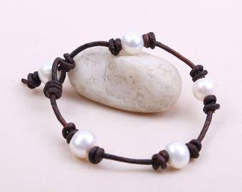 Handknotted Freshwater Pearl Bracelet,Women Pearl Leather Bracelet,Beaded Jewelry,White Pearls Bracelet For Girls Teens Bangle Wrap