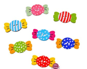10 beautiful decorative buttons wooden candy multicolor 2.4 cm - 2 holes