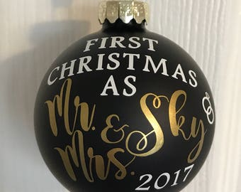 Personalized First christimas as Mr. & Mrs. with custom last name and year ornament