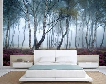 FOREST WALL MURAL, trees wall mural, mystic forest, forest wallpaper, pines wall mural, mystic forest wallpaper, mystic forest, foggy forest