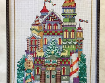 Completed cross stitch, Finished cross stitch, Christmas artwork, Holiday sampler, North Pole castle,  wall art, 10x13