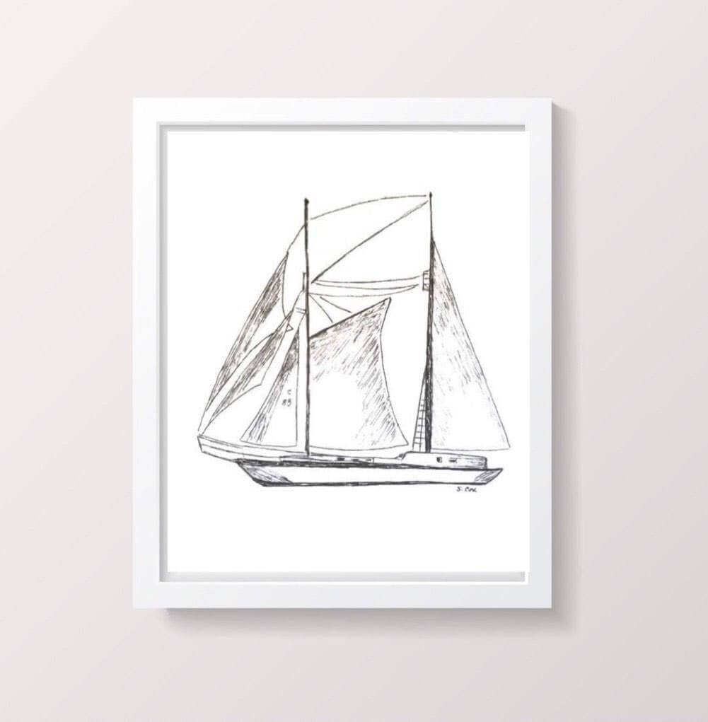sailboat drawing pen and ink nautical sketch boat print
