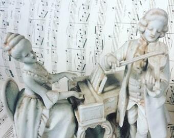 Bisque porcelain. Musicians. Violin. Harpsichord. Dog. 1900 s. french antique. Music scene.