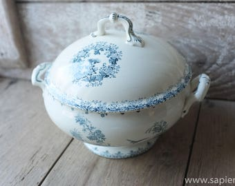 Large antique French white with blue decor ironstone tureen in excellent condition