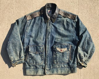 Vintage acid wash Denim/Jean jacket Bomber style WW2 Fighter 80's by BNS Medium Unisex All over print graphics Map inside lining Graphics