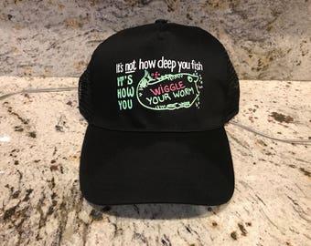 Vintage Fishing velcro strap baseball cap/hat humurous joke Neon green pink colors retro snapback 90's Adjustable