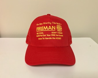 "Fireman adjustable snapback hat curved brim red and yellow one size fits all Humor ""Dont panic"" Brand new unisex police department volunteer"