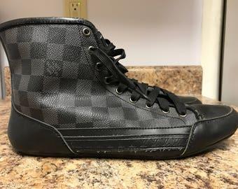 """Authentic Louis Vuitton Monogram High top sneakers/Shoes Chuck taylors All black 9.5"""" Unisex Designer shoes Gucci slides Fendi Prada"""