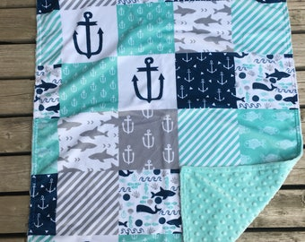 You are my anchor- Nautical Minky Blanket - Grey, Stripes, Fish, Navy Blue, Anchor